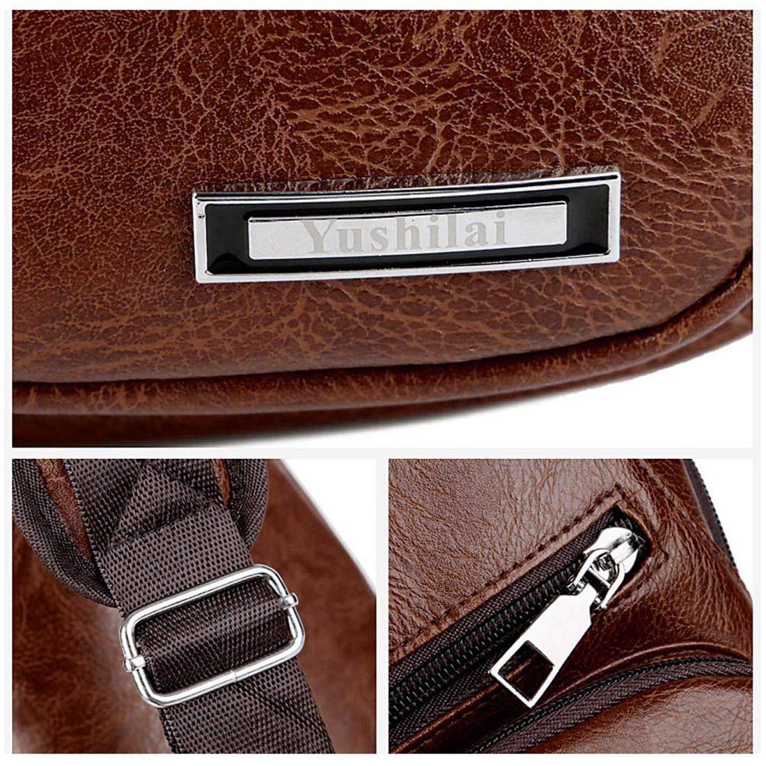 Sac /à Poitrine Grande Capacit/é Shoulder Mode Bag Chest Simple pour Homme Sac /à Dos Port/é Travers Loisirs Cuir PU Chargeur USB T/él/éphone Portable AIEOE Marron Fonc/é
