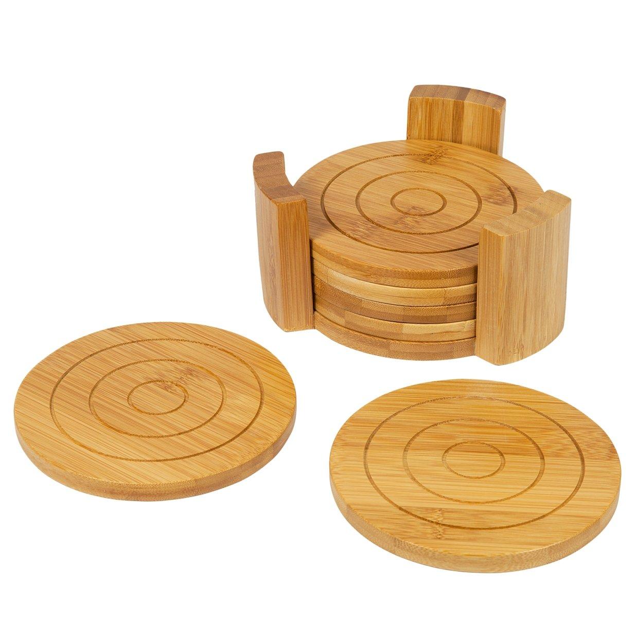 Multicolore woodluv Lot de sous-Verres Ronds//Support de Pot 6/pi/èces