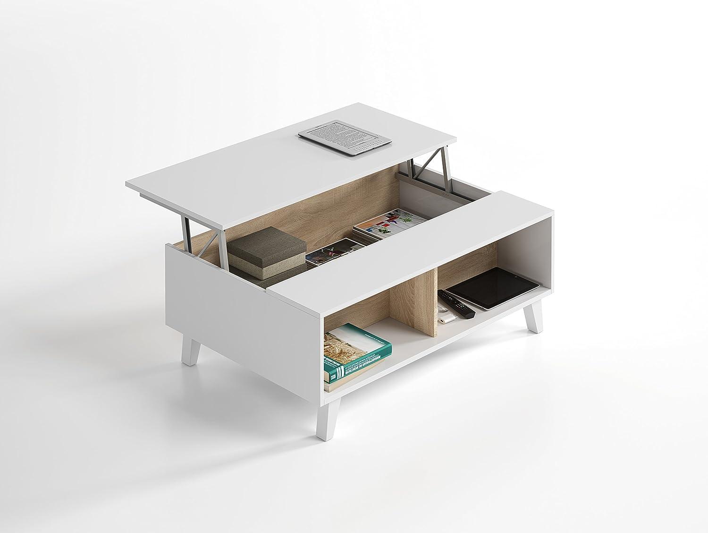 Habitdesign 0F6633BO - Mesa de centro elevable comedor salón, color ...