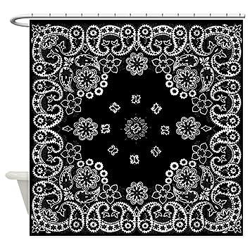 Amazon.com: CafePress - Black Paisely Bandana Shower Curtain ...