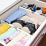Loti Houseware Adjustable Organizer/Expandable Drawer Divider For Clutter Free Kitchen Bathroom Bedroom Dresser Drawers - White - Small