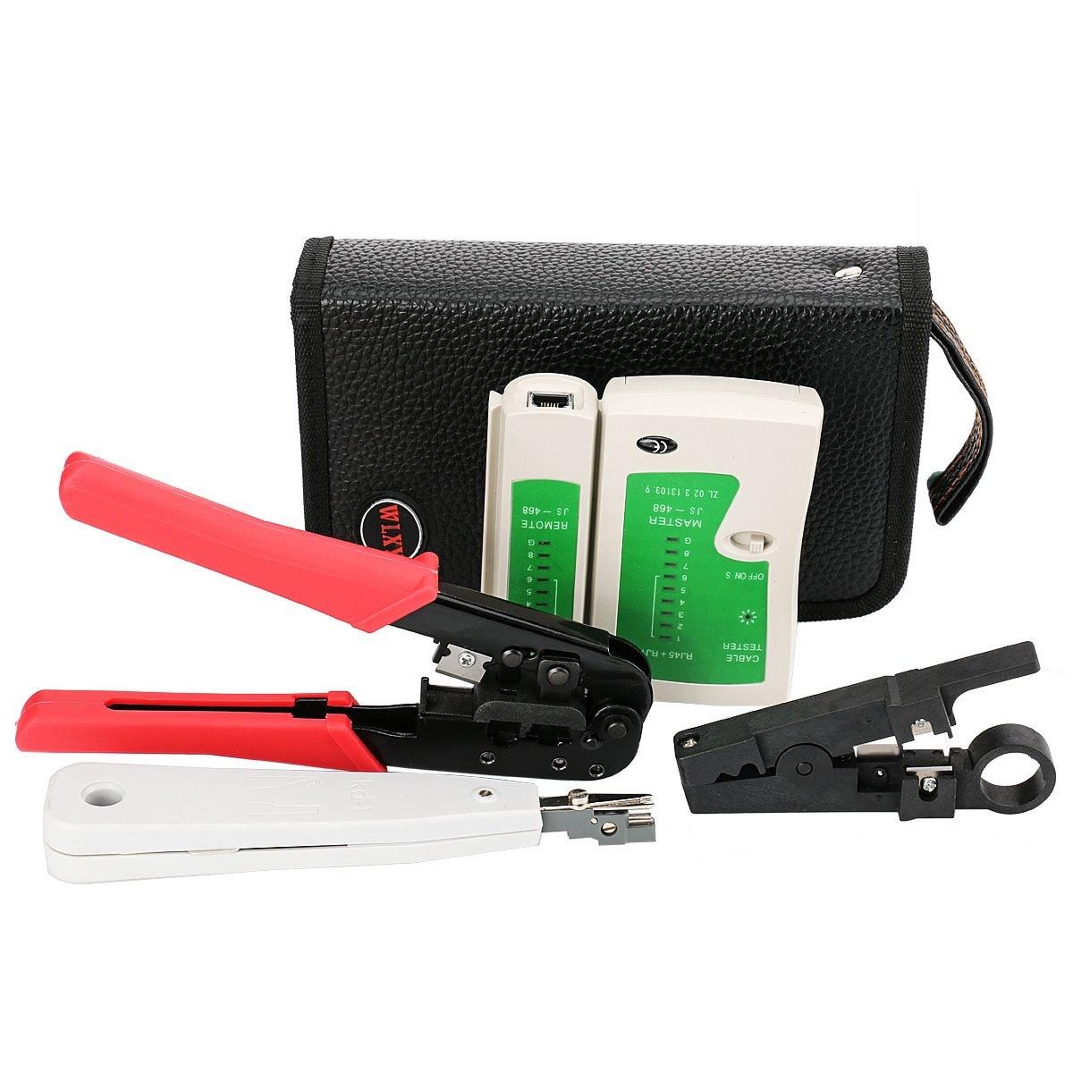 Incutex kit de herramientas de red, crimpadora, tester de cables, conector de red, cortador de cable LAN, Punch down Tool LSA con herramientas de corte