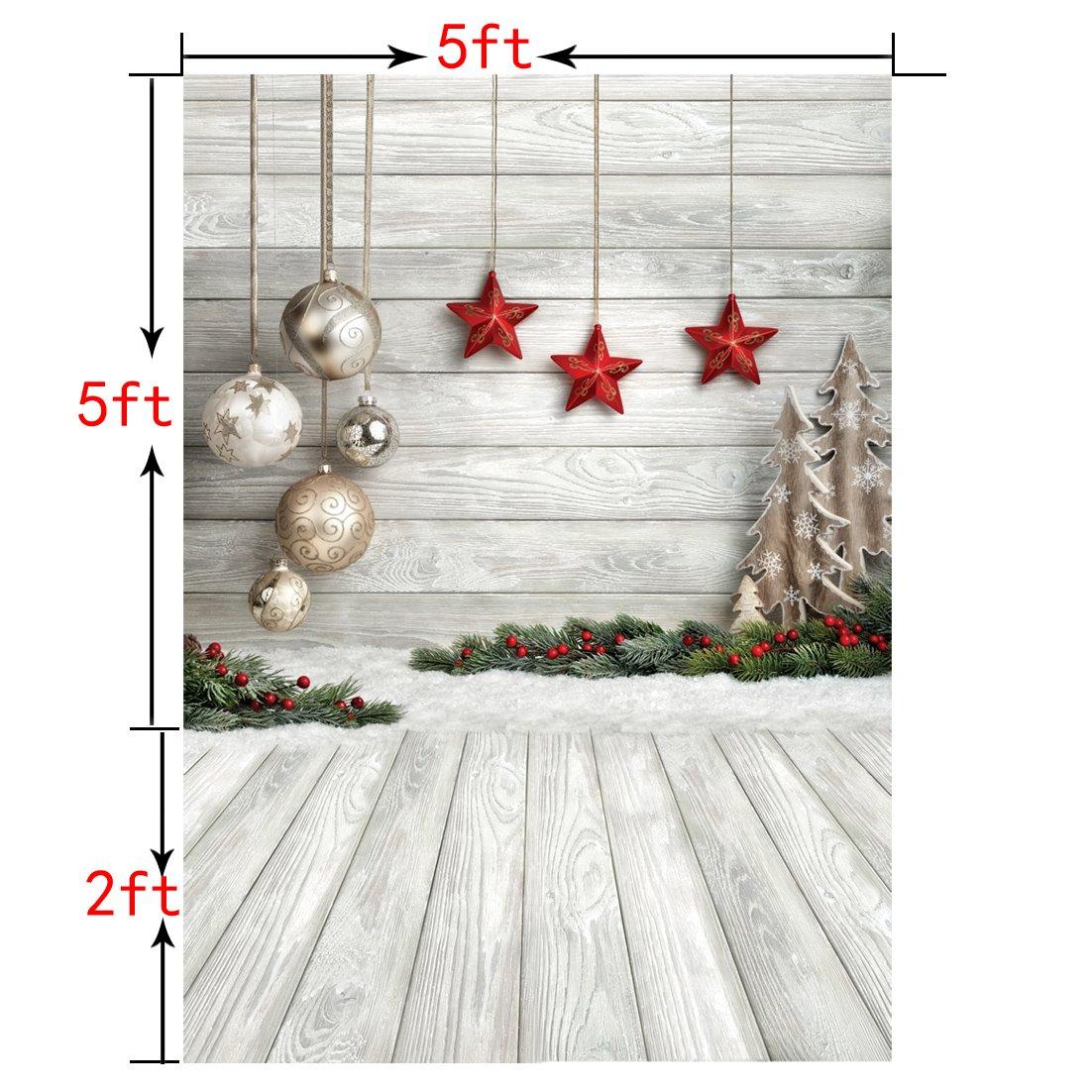 Amazon.com : SJOLOON 5X7ft Christmas Balls White Wood Floor ...
