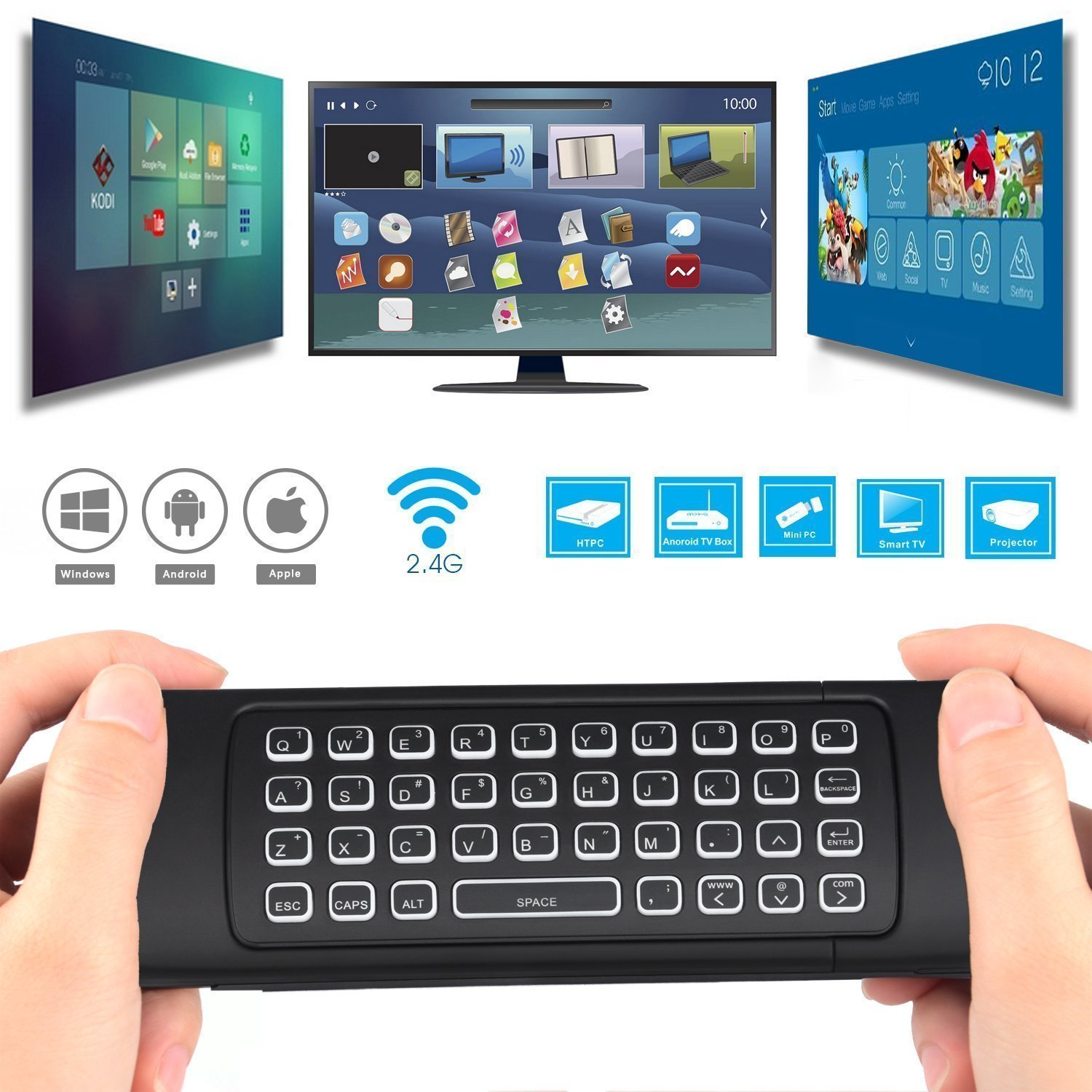 Backlit Air Mouse Keyboard Kodi Remote MX3 Pro, 2 4Ghz Mini Wireless  Android TV Control & Infrared Learning Microphone for Computer PC Android  TV Box