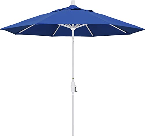 California Umbrella 9 Round Aluminum Market Umbrella, Crank Lift, Collar Tilt, White Pole, Pacifica Pacific Blue