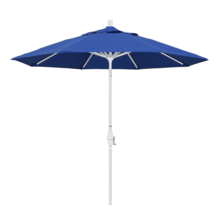 California Umbrella 9 Round Aluminum Market Umbrella, Crank Lift, Collar Tilt, White Pole, Pacifica Pacific Blue