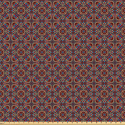 Ambesonne Vintage Fabric by The Yard, Oriental Turkish Carpet Design Like Image with Vivid Colorful Floral Seem Artwork, Microfiber Fabric for Arts and Crafts Textiles & Decor, 5 Yards, Multicolor ()