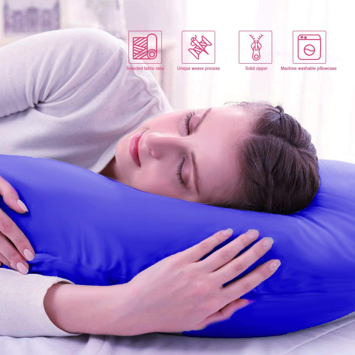 Legs Belly-Blue Hips ARyee Full Body Pregnancy Pillow,U-Shaped Body Pillow for Sleeping with Nursing Baby Design,Zipper Removable Cotton Cover,Support for Back