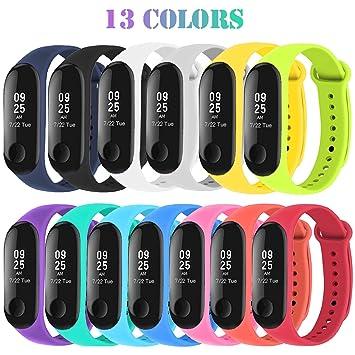 b1340632dd46 Madozon 13 Piezas Pulsera Xiaomi Mi Band 3 Correas Reloj Silicona Banda  para XIAOMI Mi Band 3 Reemplazo - 13 Colores  Amazon.es  Deportes y aire  libre