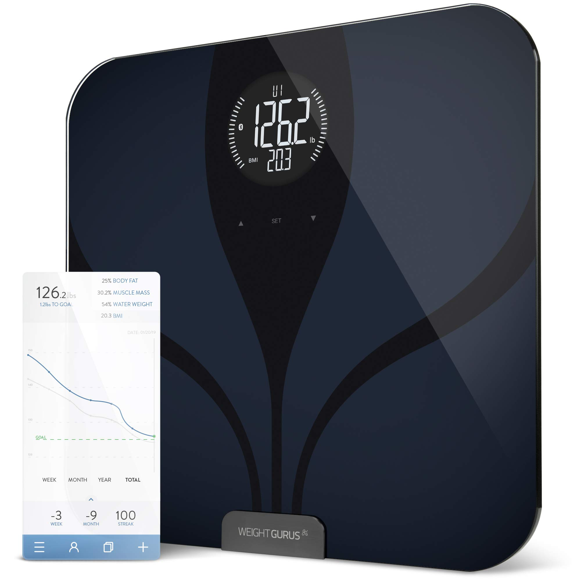 Greater Goods Bluetooth® Connected Body Fat Digital Bathroom Smart Scale (Black-Black LCD) by Greater Goods