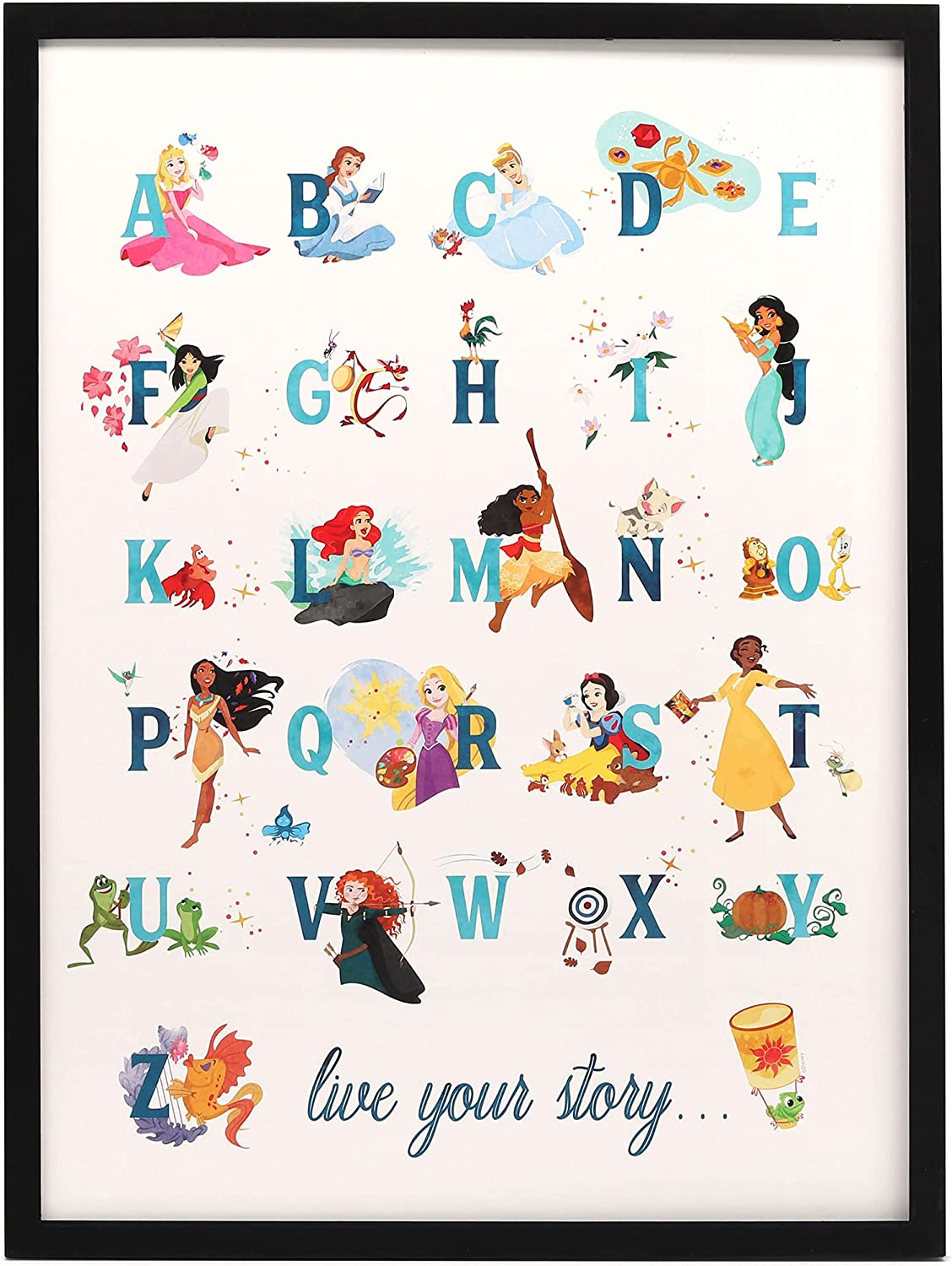 Open Road Brands Disney Princess Alphabet Framed Wood Wall Decor - Large 24 Inch x 18 Inch Picture Featuring Belle, Cinderella, Ariel, Rupunzel and More
