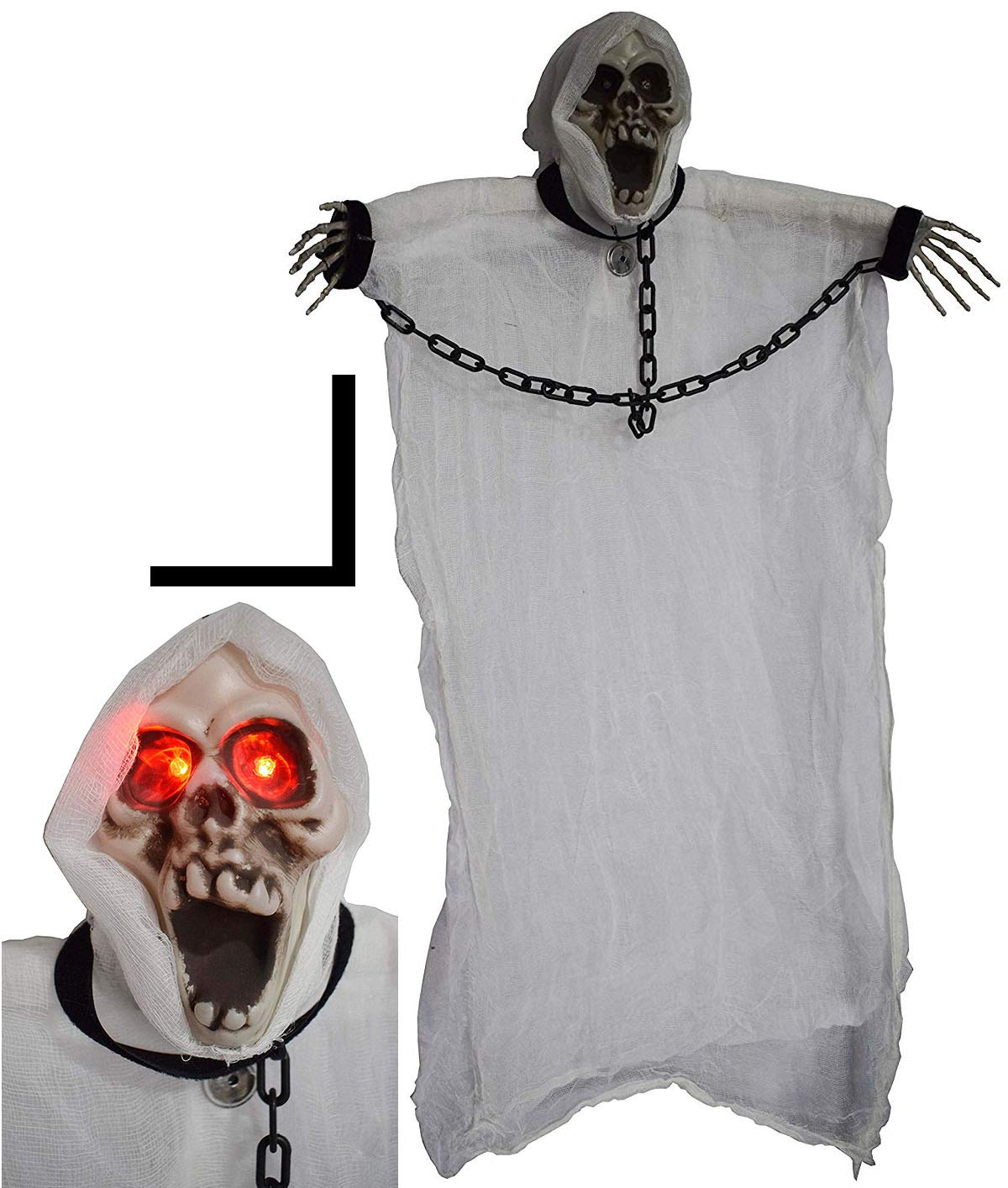 4E's Novelty Spooky Hanging White Ghost, Scary Skeleton Prop, Halloween Horror Scene Props Decorations, with LED & Sounds of Witches in The Hell, 3 Ft.