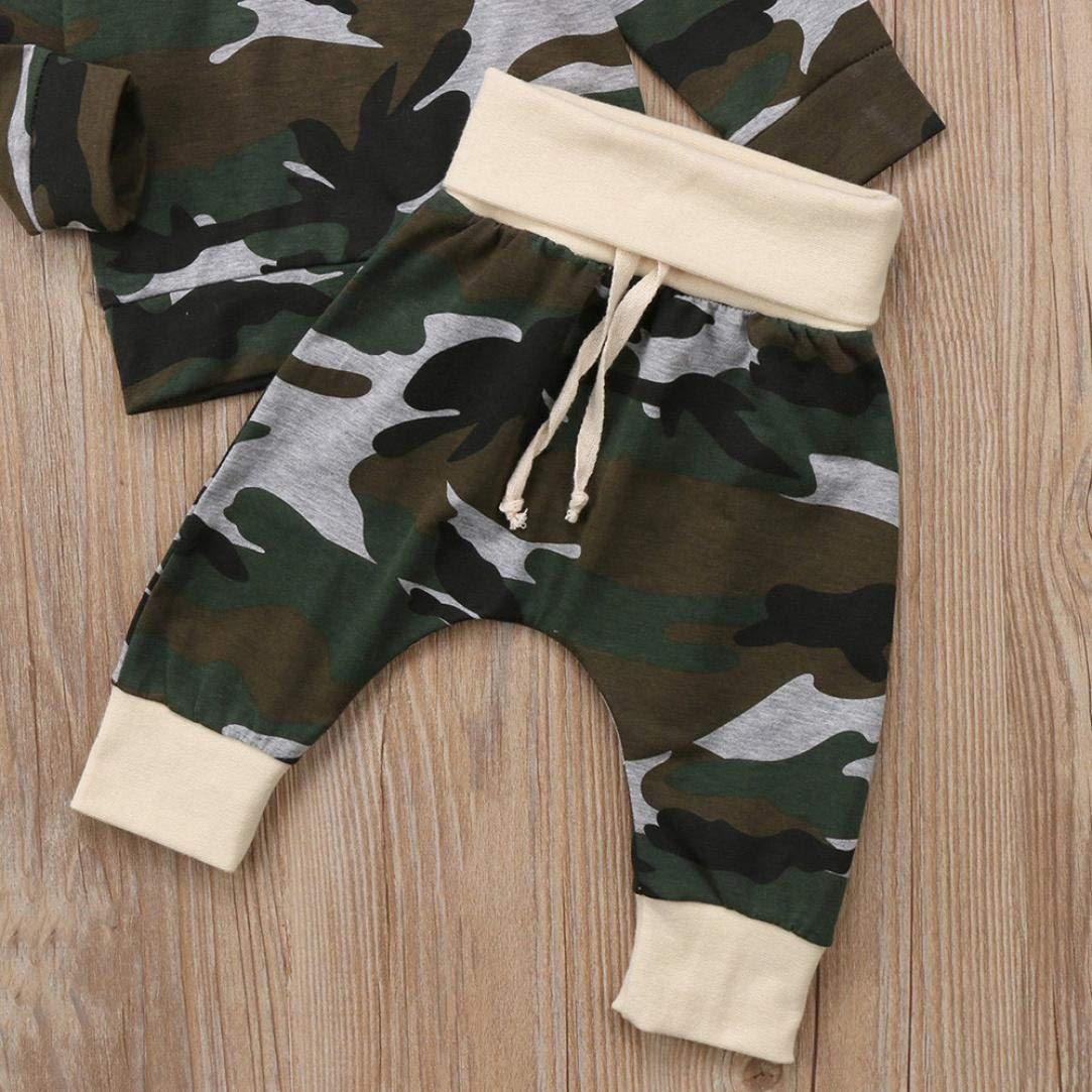 WARMSHOP No Shipping,Baby Boys Girls Camo Clothes Long Sleeve Cotton Hooded Pullover Top+Pants Casual Outfits Set