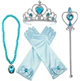 Alead Princess Elsa Gloves, Tiara, Wand and Necklace Dress Up Party Accessories (Blue)-4 Pieces