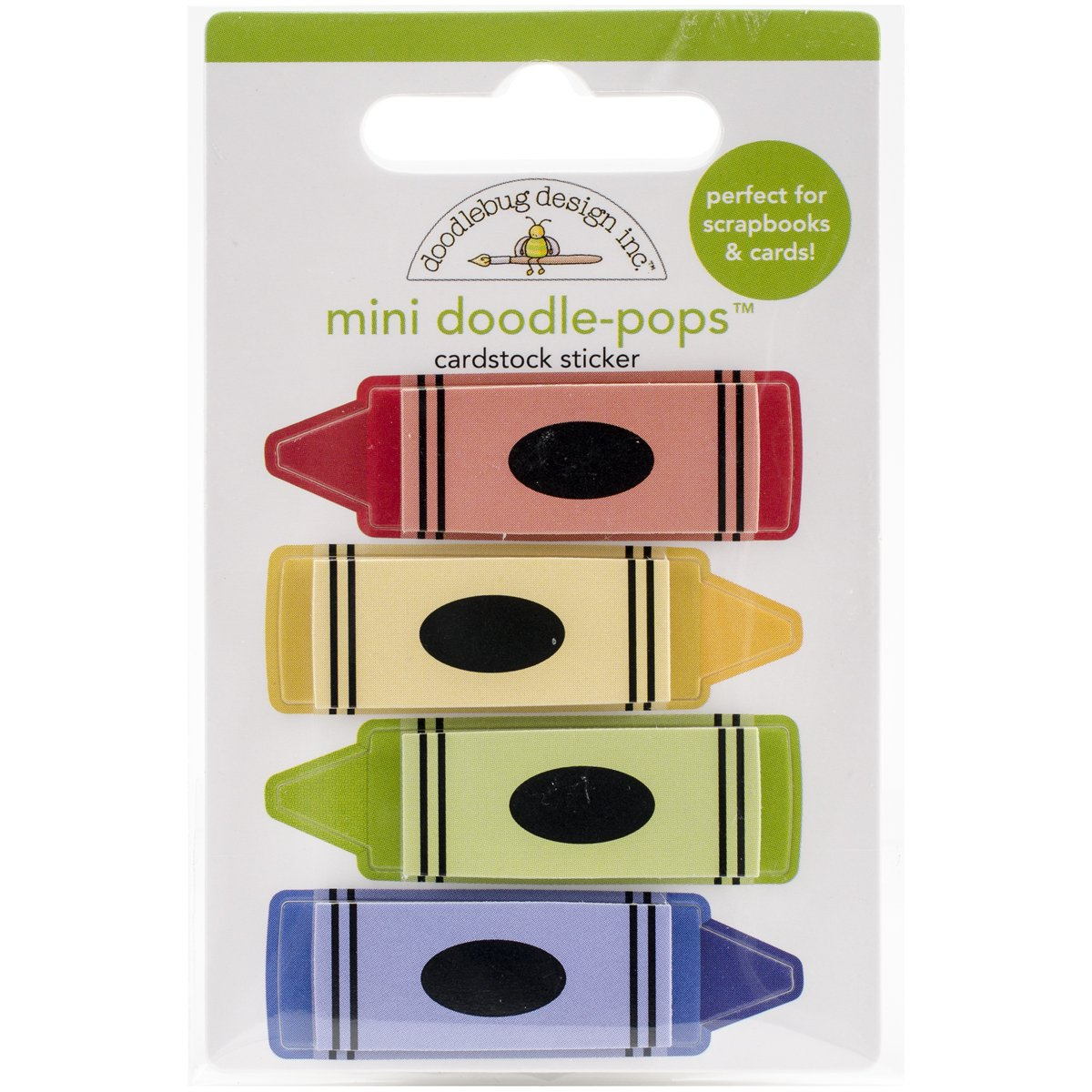 Doodlebug School Doodle-Pops Crayons Impreziosito Adesivi 3D