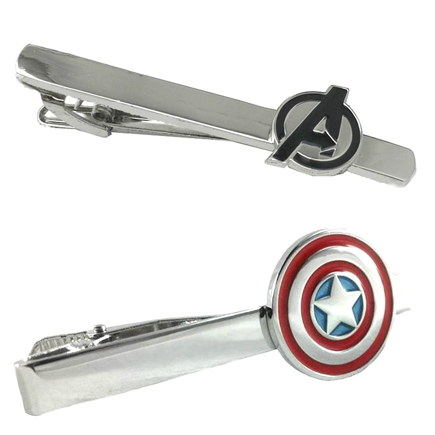 Outlander Marvel Comics - Avengers & Captain America - Tiebar Tie Clasp Set of 2 Wedding Superhero Logo w/Gift Box Outlander Brand