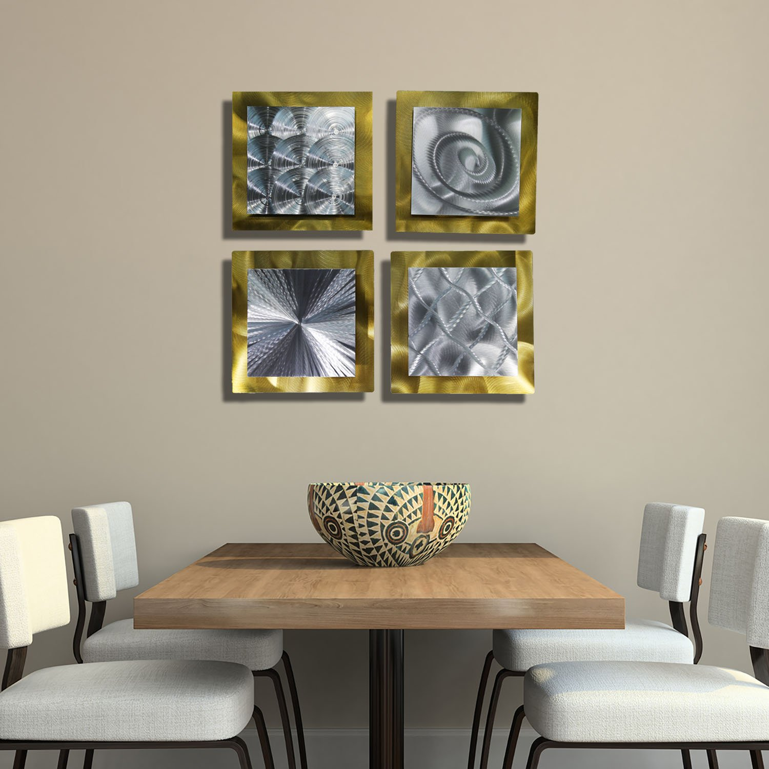 Amazon.com: Gold U0026 Silver Contemporary Metal Wall Art   Set Of 4 Panel  Modern Home Décor   Phenomena Sculpture Set By Jon Allen: Home U0026 Kitchen