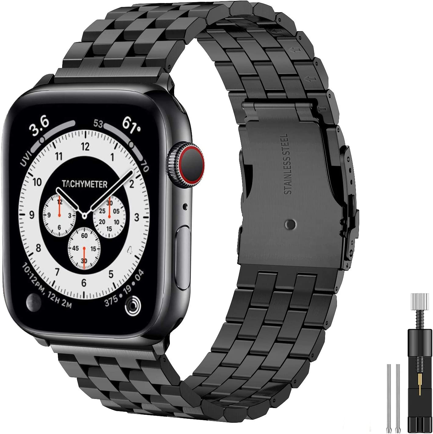 Hallsen Compatible with Apple Watch Bands 44mm 42mm, Upgraded Solid Stainless Steel Metal Apple Watch Band iWatch Replacement Strap for Apple Watch Series 6/5/4/3/2/1/SE (Black, 42/44mm)