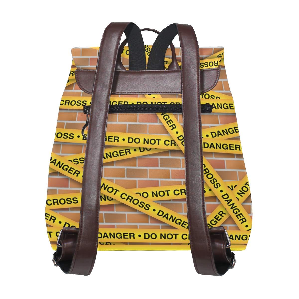 KEAKIA Women PU Leather Police Line Backpack Purse Travel School Shoulder Bag Casual Daypack