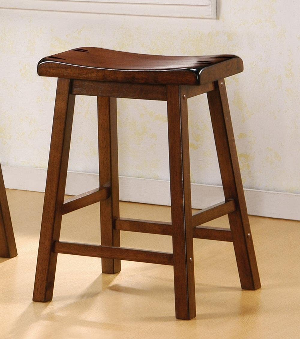 Set of 2 24 H Counter Height Stools Dark Walnut Finish