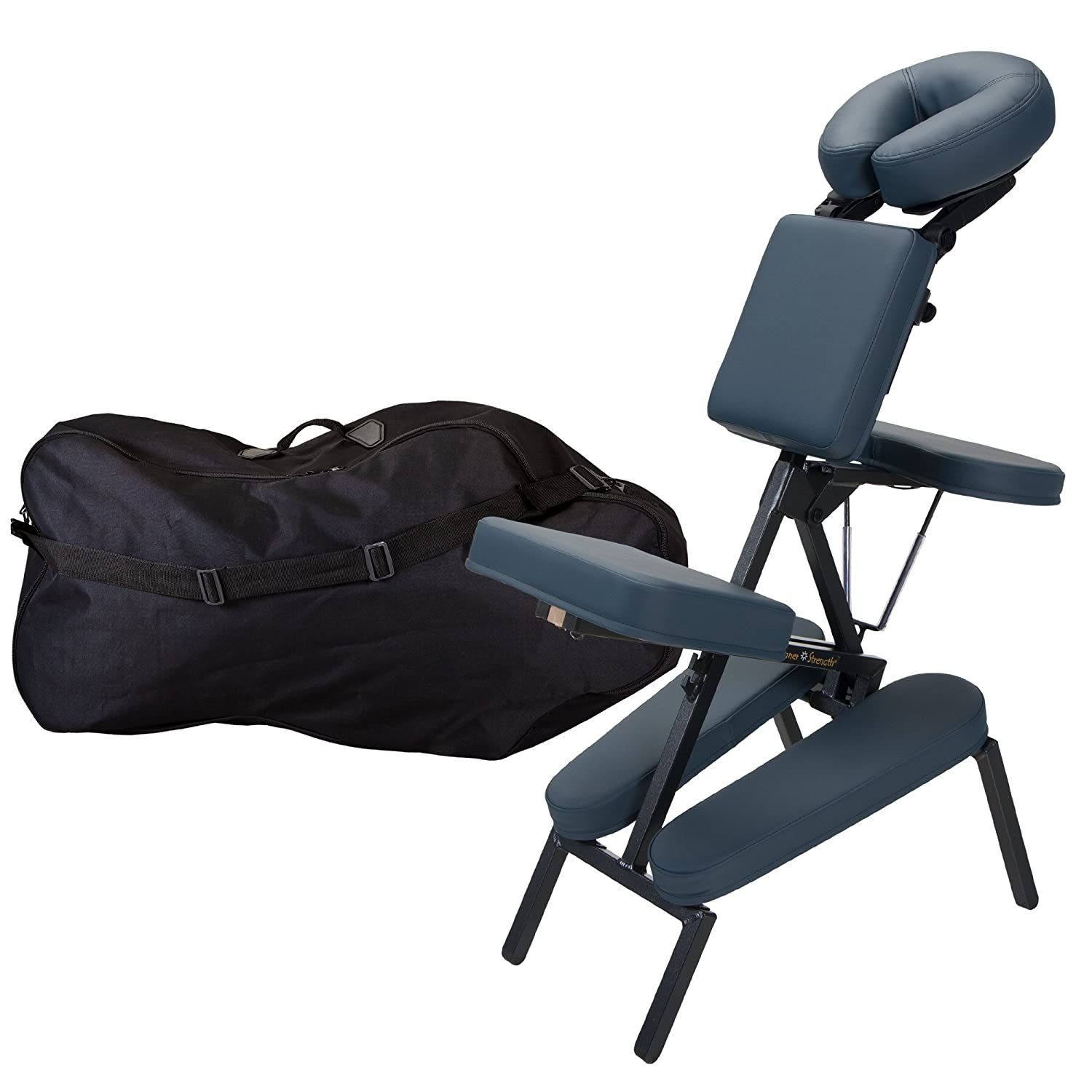 INNER STRENGTH Portable Folding Massage Chair ELEMENT - Tattoo Spa Massage Therapy Chair incl. Deluxe Adjustable Headrest & Carry Case, 100% PU (Only 16lbs) 20765