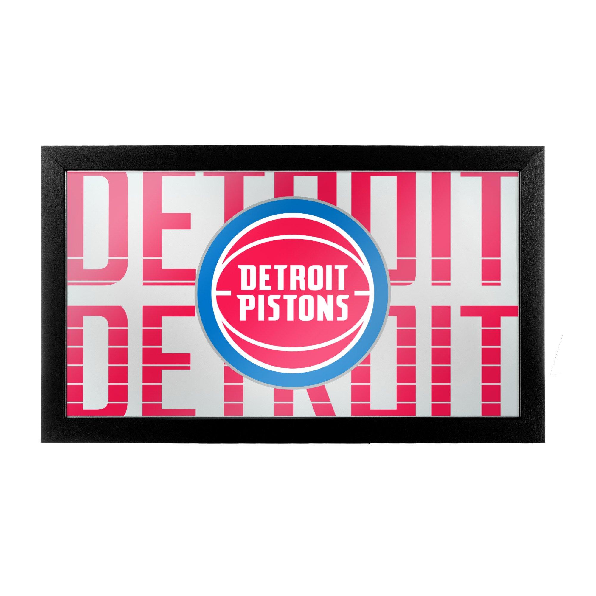 Trademark Gameroom NBA1500-DP3 NBA Framed Logo Mirror - City - Detroit Pistons by Trademark Global