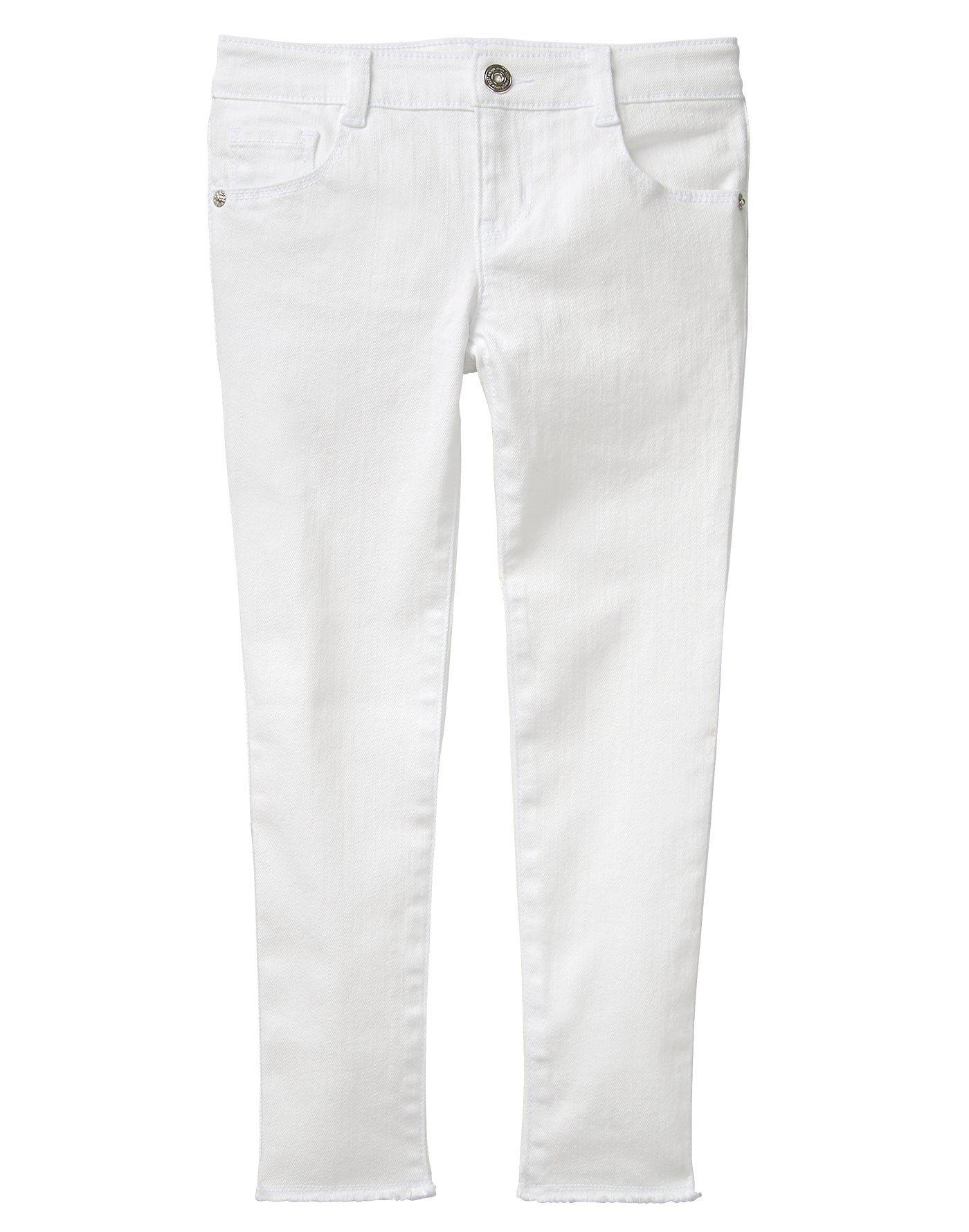 Crazy 8 Little Girls' Raw Hem Skinny Jean, White, 5