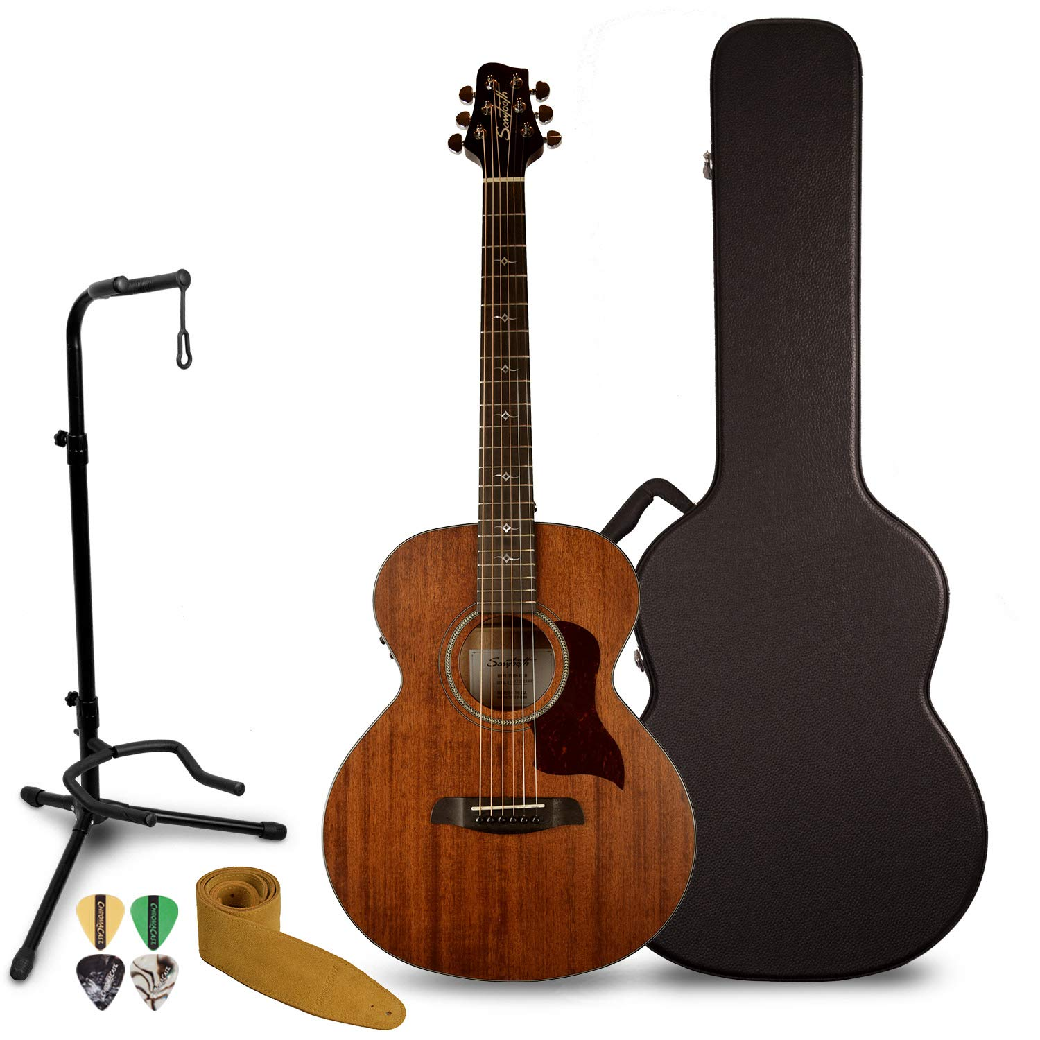 Sawtooth Mahogany Series Solid Mahogany Top Acoustic-Electric Mini Jumbo Guitar with Hard Case and Pick Sampler ST-MH-AEJJR-KIT-1