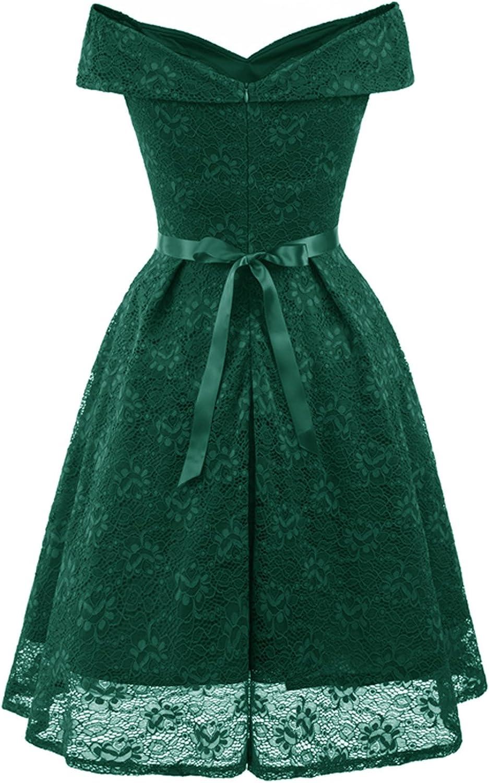 MisShow Elegant Carmenausschnitt Spitze Kleid Cocktailkleid Festliches  Kleid Jugendweihe Kleid Abendkleid Knielang