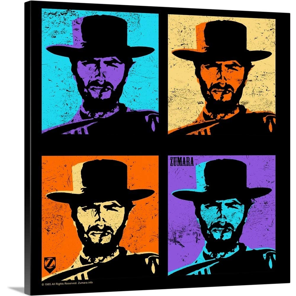 Great Big Canvas Gallery-Wrapped Canvas Entitled Clint Eastwood Multi Stamp 35''x35''