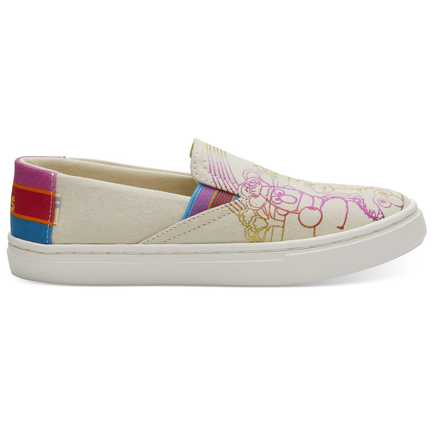 TOMS Sesame Street X Foil Printed Canvas Youth Luca Slip-Ons 10013644 (Size: 6)