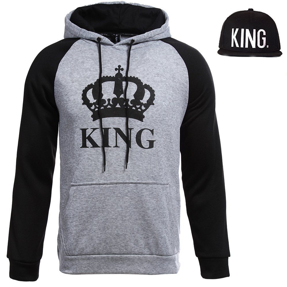 Couple Hoodies King and Queen Print Lovers' Hooded Sweater Cute Outfit Coat