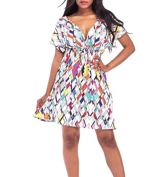 Vestidos Verano Mujer Elegantes Cortos Vestidos Años 50 A-Lìnea Boho Vintage Imprimir Hippies Dresses Fiesta Disfraz Vestidos Playa Manga Corta V Cuello ...
