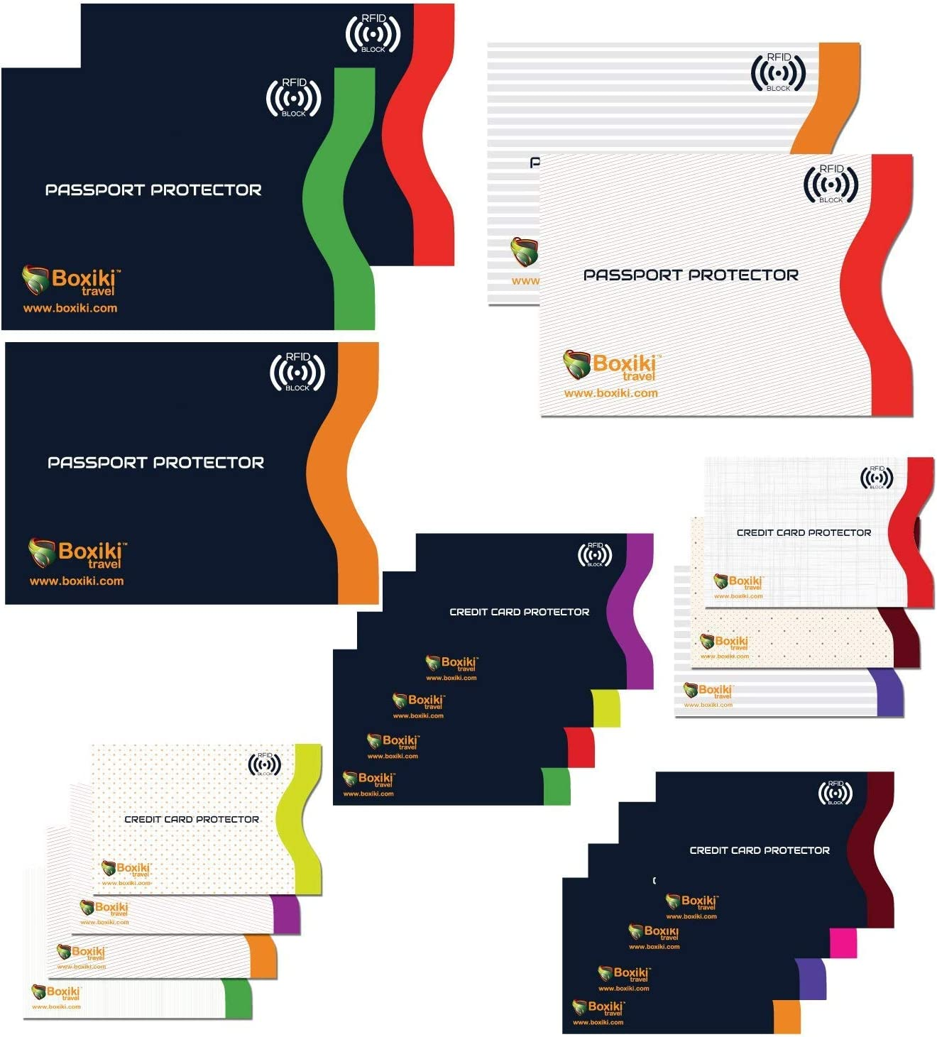 RFID Blocking Sleeves, Set With Color Coding | Identity Theft Prevention RFID Blocking Envelopes by Boxiki Travel (Set of 15 Credit Card Sleeves + 5 Passport Sleeves) (White & Navy Blue)