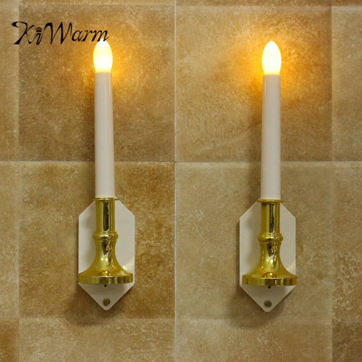 zilzol 2pcs Solar LED Candle Light Automatic Sensing Outdoor Waterproof Wall Lamp Window DecorThanksgiving Christmas Party Decor