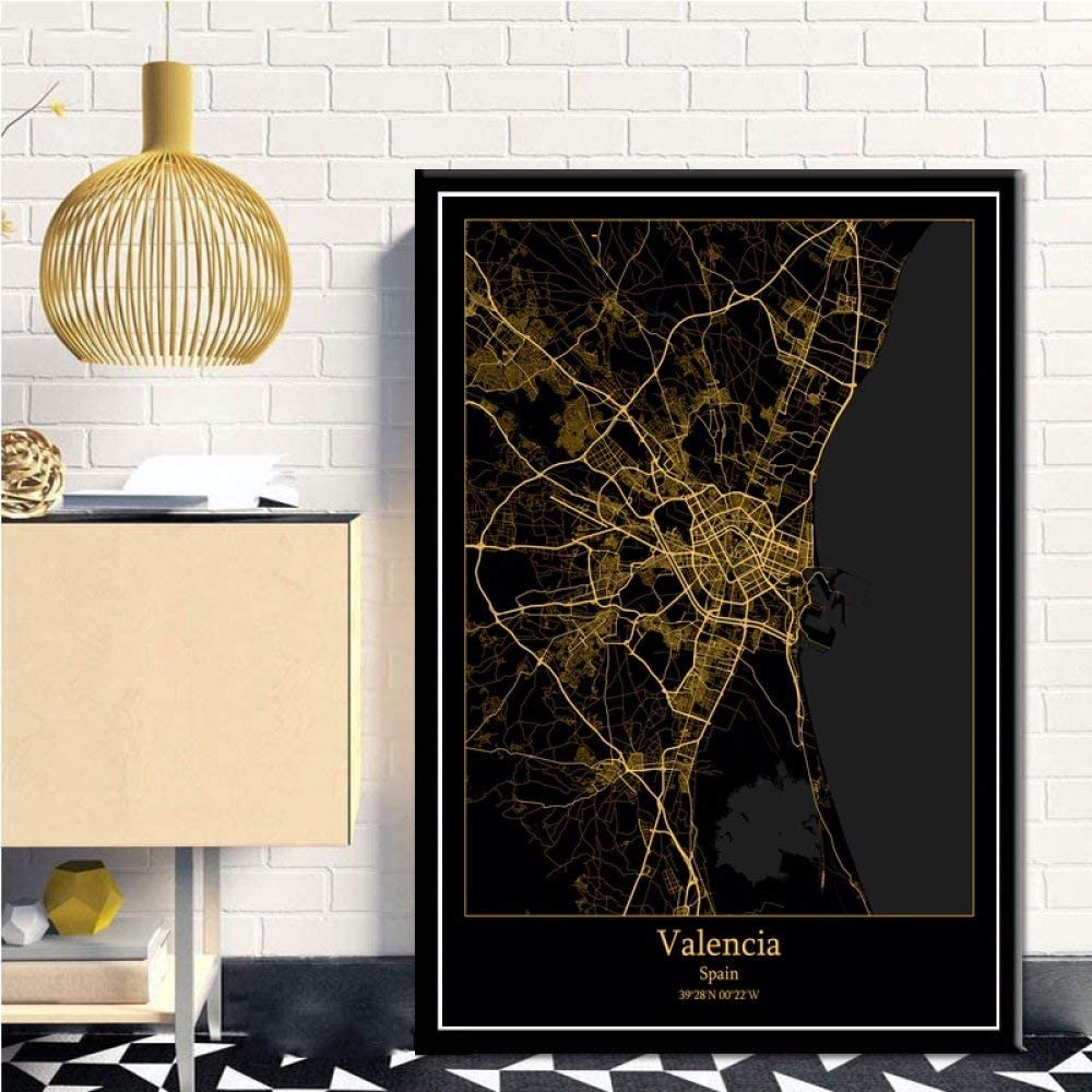 Amazon Com Agagrg Canvas Print Northern Europe Black Golden Valencia Spanje Map Non Woven Posters Mural 3d Picture Vertical Wall Painting Art Bedroom Home Decorations Office Artwork 40cm50cm Furniture Decor