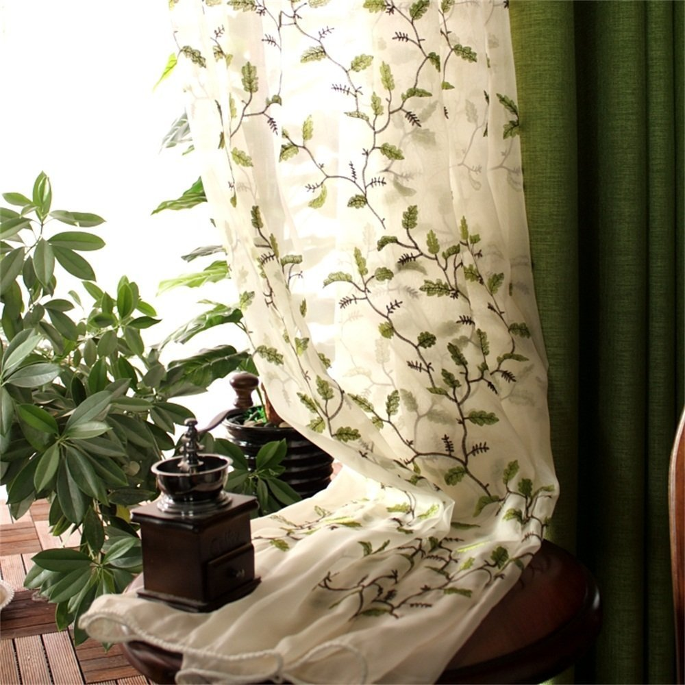 Abreeze Plants Leaves Green Curtains Fabric Embroidered Semi Sheer Curtains Botanical Floral Design Voile Tulle Window Curtains Two Panels 54 x 63 inch Panel, Rod Pocket Style by Abreeze