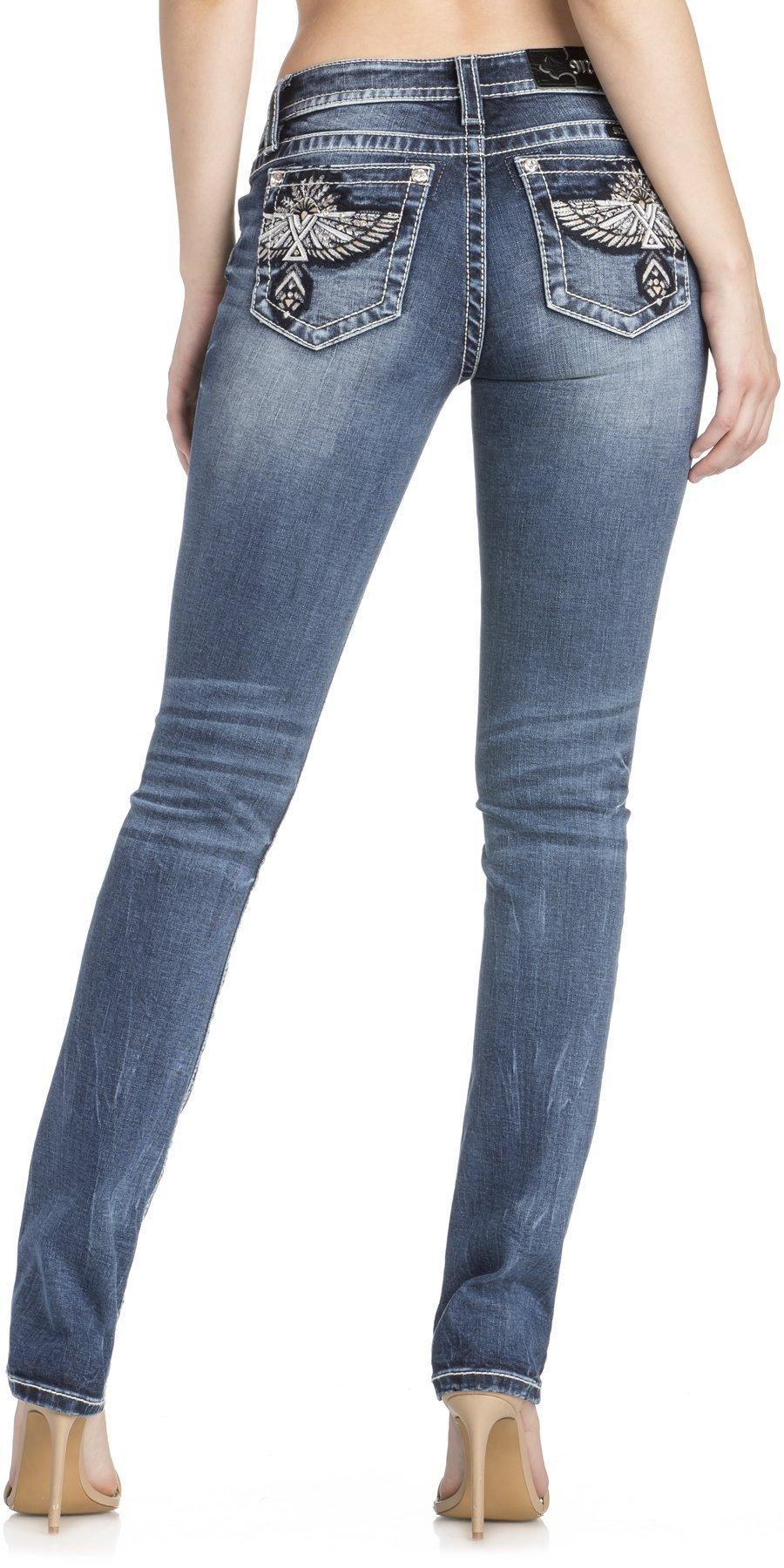 Miss Me Women's Phoenix Embellished Back Pocket Straight-Leg Jeans (Medium Blue, 28)