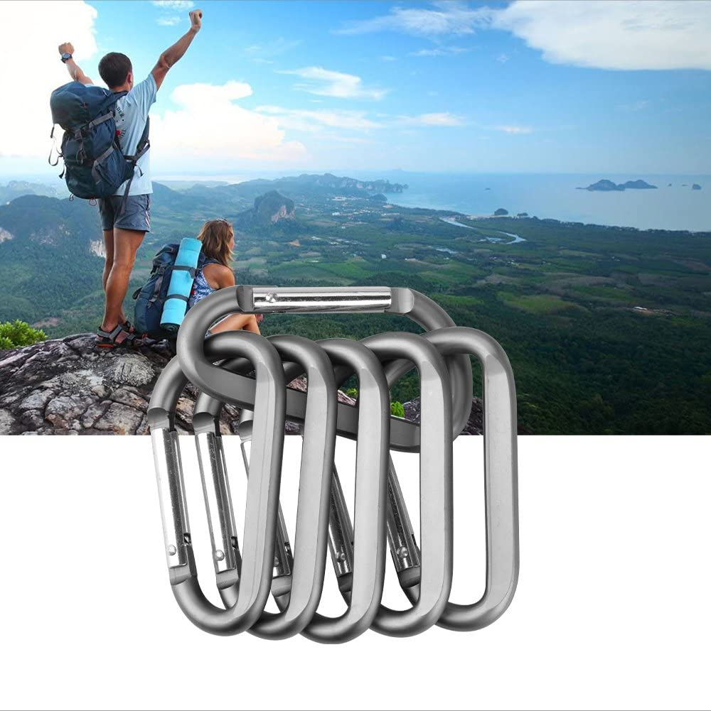 """CampTek 3"""" Aluminum Carabineer Keychain Clip with Keyring, Light Durable D Shape Nonlocking Carabineer Hook Buckle for Outdoor Camping EDC Key Chain Ring, Grey, 6 Piece: Sports & Outdoors"""
