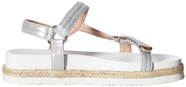 Taryn Rose Women's Lydia Metallic Nappa Flat Sandal B075MQVG4W 8 M M US|Silver