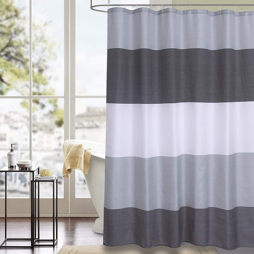 Shower Curtain Black and Grey Polyester Fabric Bathroom Curtain Waterproof Thick Shower