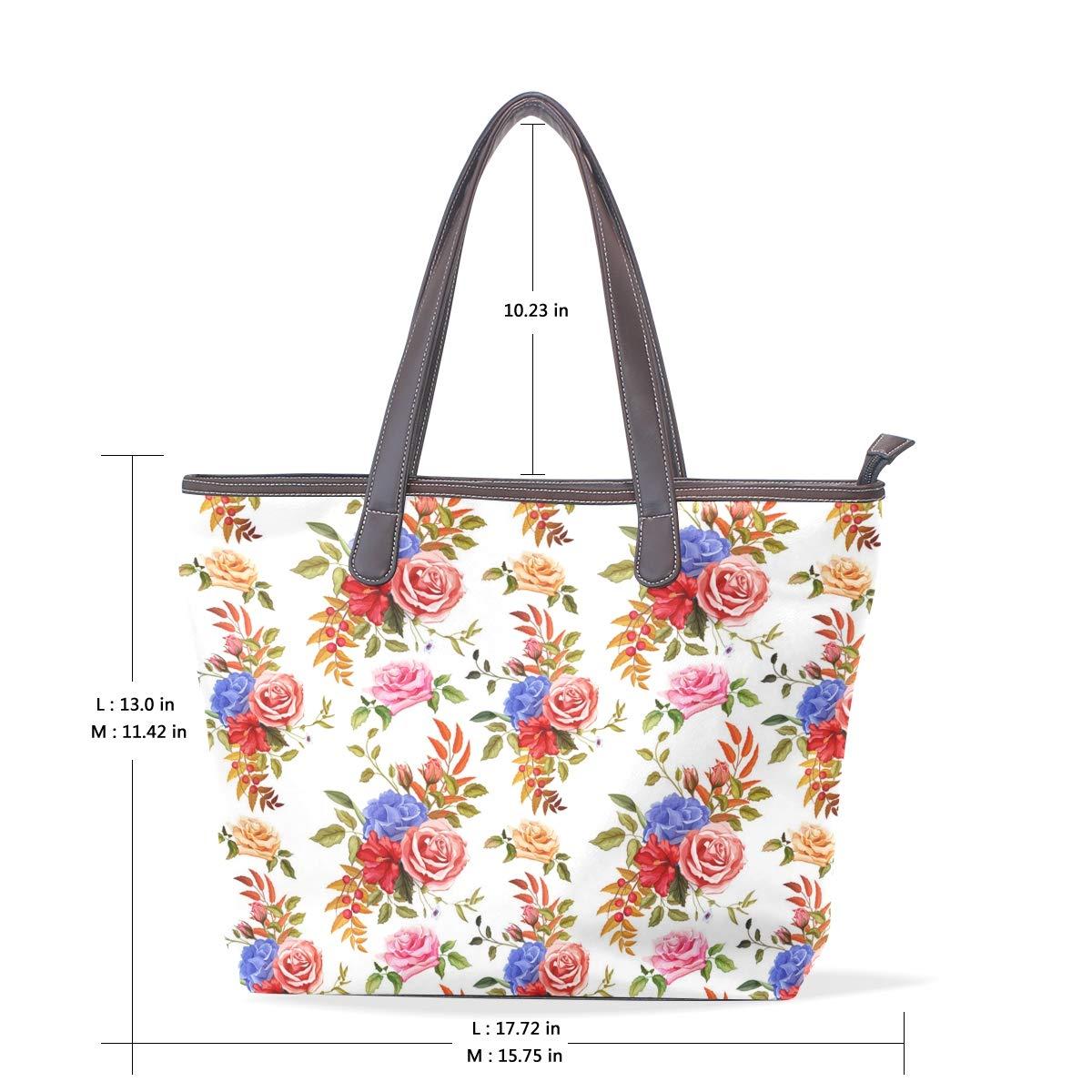 Womens Leather Flower Hibiscus Rose Handbag Satchel Tote Bag Tote Purse