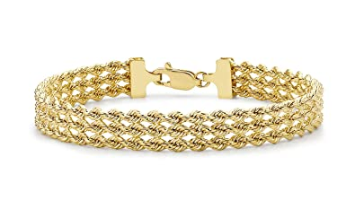 Carissima Gold 9ct Yellow Gold 3 Strand Rope Bracelet of 18cm/7 zngZl8
