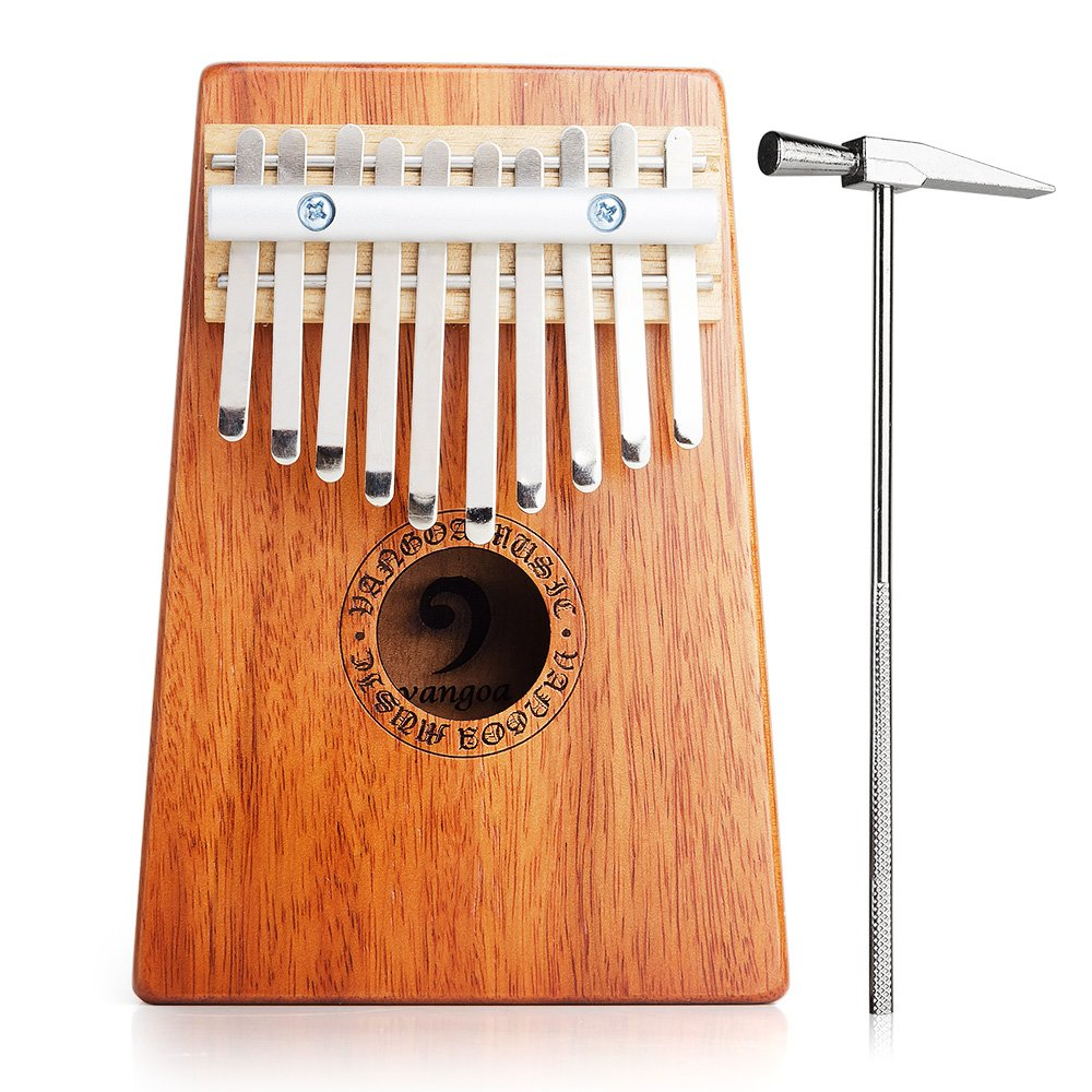 Vangoa 10 Keys African Fingers Kalimba Thumb Piano Percussion Keyboard Mahogany Wood, Natural