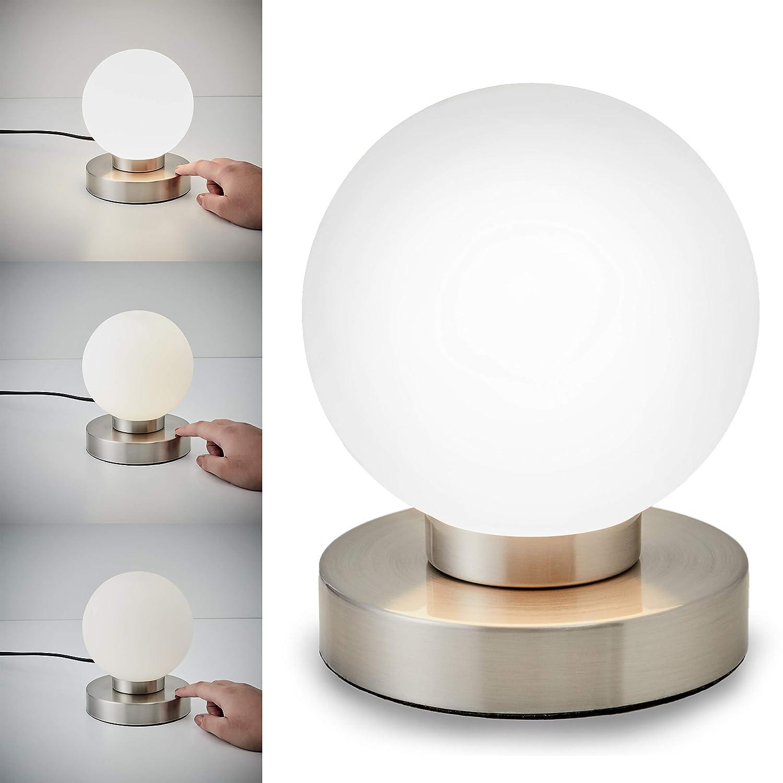 B.K éclairage Chambre 25W Licht Lampe De Chevet Tactile 3 Intensités IP20  Lumière De Lecture E14 ...