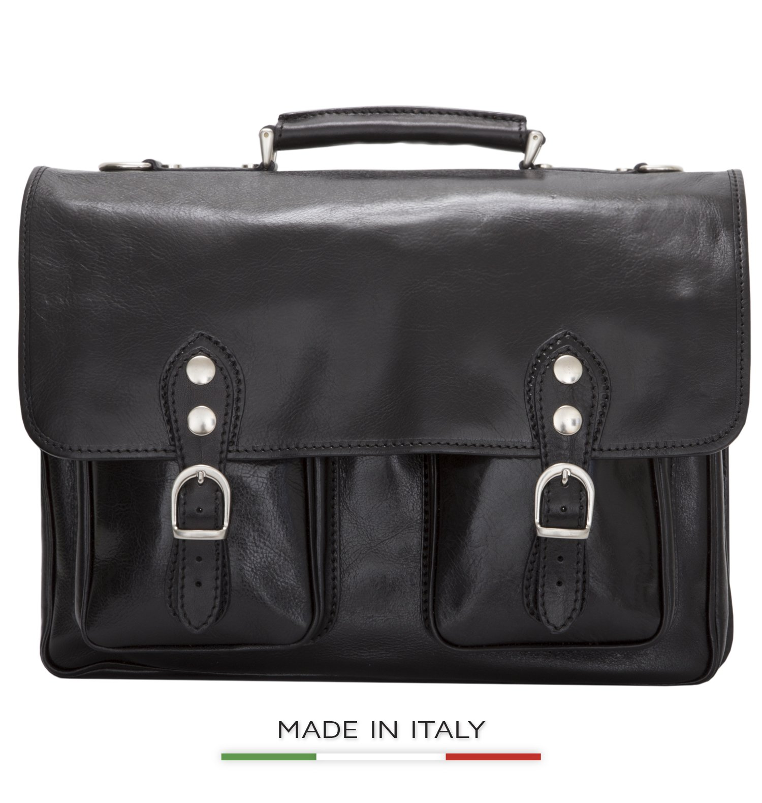 Luggage Depot USA, LLC Men's Alberto Bellucci Italian Leather Express Satchel Laptop Messenger Bag, Black, One Size