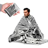 Emergency Silver Mylar Thermal Compact Waterproof Blankets for First Aid Kits, Natural Disasters Equipment, Retain Body Heat, Keeps You Warm (Pack of 10)