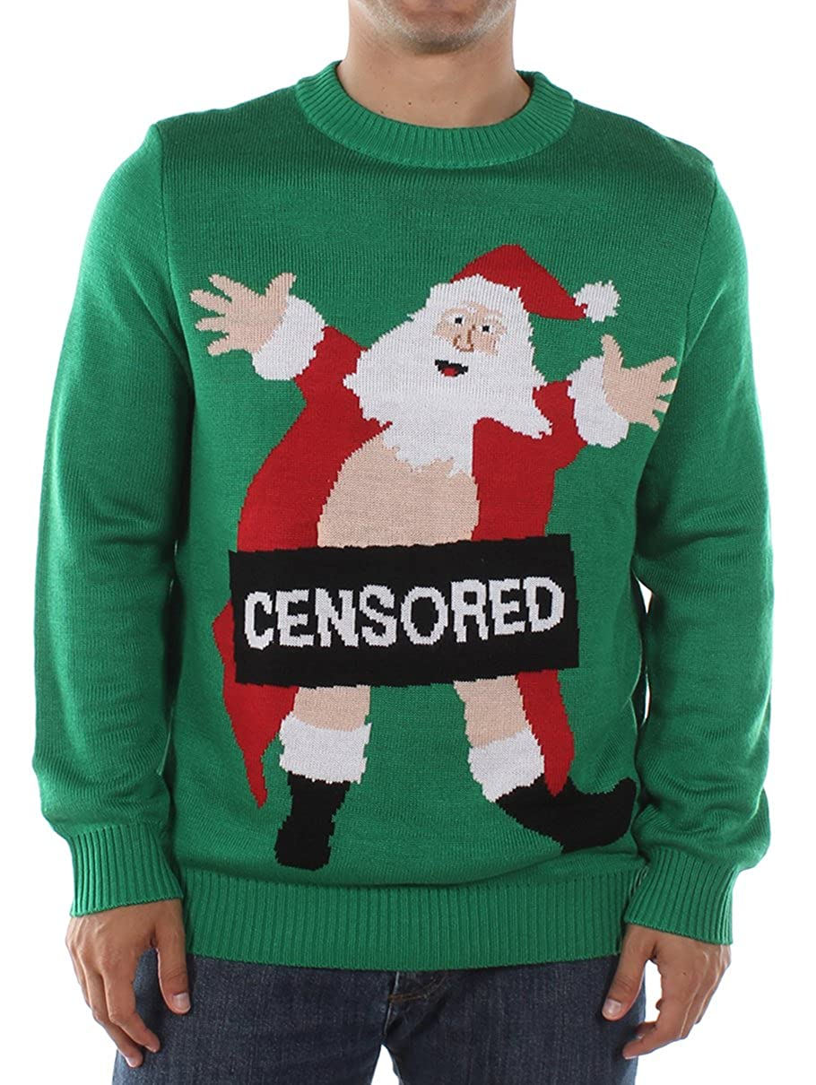 a42d3c8ce90 Tipsy Elves Men s Ugly Christmas Sweater - Censored Santa Christmas Sweater  at Amazon Men s Clothing store
