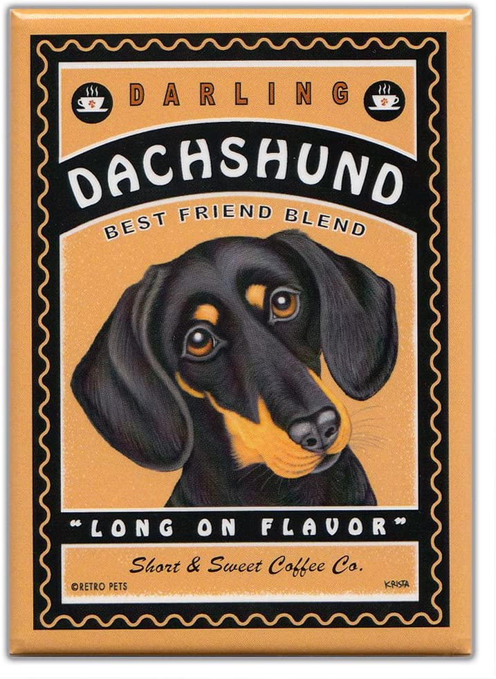 Retro Dogs Refrigerator Magnets: DACHSHUND | COFFEE | Vintage Advertising Art