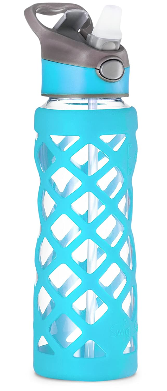Glass Water Bottle With Protective Silicone Sleeve Wide Mouth Lid With 3 Different Interchangeable Leak Proof Covers Reusable Leakproof Container For Sports Gym Travel BPA Free 25oz
